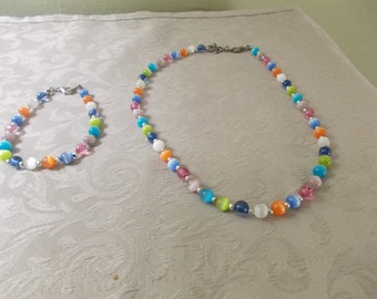 Multi Colored Beaded Necklace and Bracelet Set (1043)