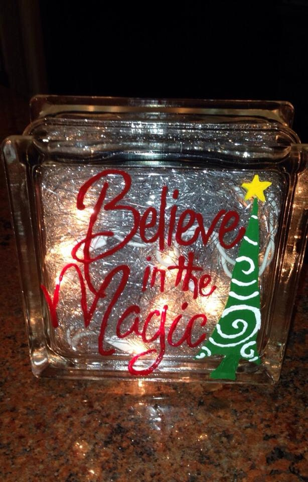 Glass block christmas light up blocks believe in the magic