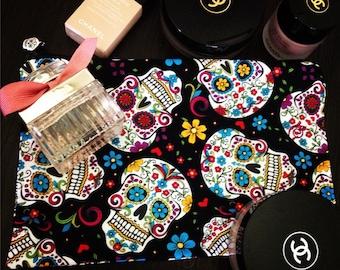 Sugar skull pattern pouch, bag, makeup bag, cosmetic bag, Skull bag.