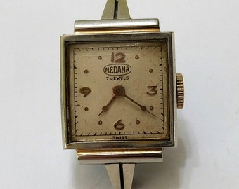 Vintage, Medana, Wristwatch, Movement, Dial, Case,Repair, Steampunk, Beading, Jewelry, Supplies - working, but needs service