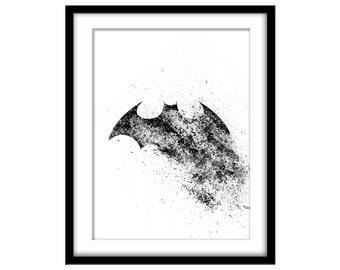 Black Bat Sign, Hero Splatter Art, Printable Poster, Wall Art, Boy's Room, Instant Download