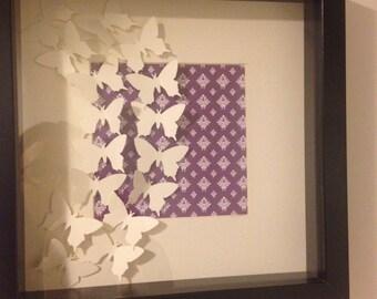 3D Aubergine Vintage Butterfly Fusion Paper Art