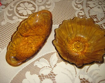 2 piece Vintage Amber Glass Sunflower Design Serving Dishes