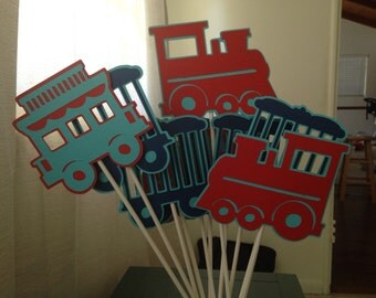 Choo Choo Train Set of 9 Centerpiece Decorations/ Choo Choo train party decorations