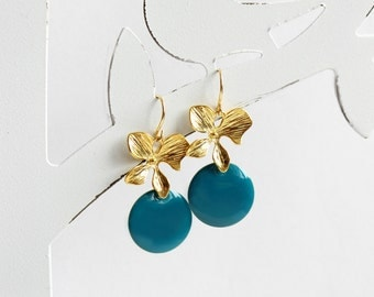 Ich bin Luxus - 'Emaille for YOU - teal blue' orchid earrings