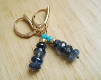 Kyanite earrings 14k gold filled earrings Gemstone jewelry Kyanite, turquoise earrings Dangle earrings Gemstone earrings Chakra jewelry