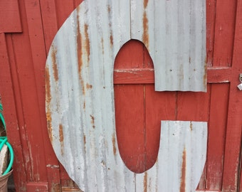 GIANT Rusty Tin Letters, FREE Shipping,  Monogram rustic letter, large letters, Home Decor, Initials, rustic wedding decor