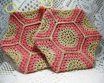 Pretty in Pink/Vintage eight sided pot holders