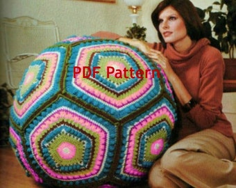 Vintage Hippie Granny Square Giant Floor Pillow Pouf Ball Cushion Crochet Pattern Digital PDF Download