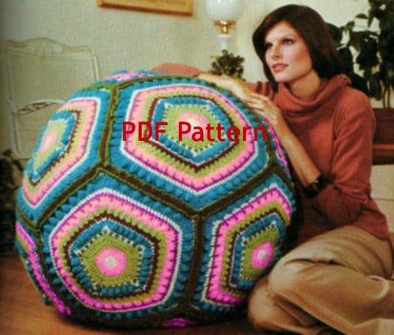 Vintage Hippie Granny Square Giant Floor Pillow Pouf Ball