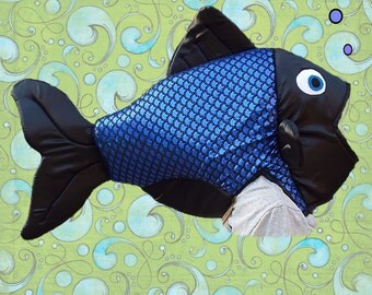 Fish Costume  Fits Adult or Child  Holographic Blue/Black foil fabric, covered foam head with underarm ties, lined