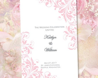 "Catholic Church Wedding Program ""Kaitlyn"" Pink 8.5 x 11 Fold Word.doc Template Instant Download ALL COLORS Available DIY U Print"