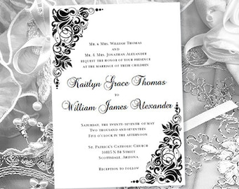 Printable Wedding Invitation Gianna Black White Template Make Your Own Invitations Creative