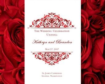 printable wedding program template grace burgundy red make your own programs order of service word template all colors av diy you print
