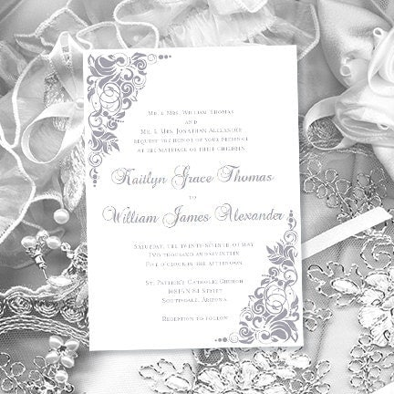 Wedding Invitation Template Gianna Silver Gray