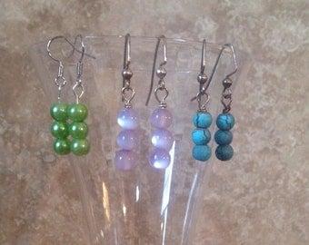 FREE SHIPPING!Bead trio earrings!
