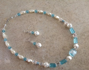 Pale aqua with pearls and crystals necklace and earrings-FREE SHIPPING!!!