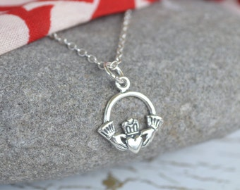 Irish Claddagh Sterling Silver Necklace