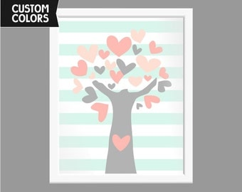 Nursery art print, Tree, Custom colors ( v006 )