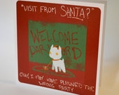 Unusual Holiday Card, Not Quite Santa design, creepy cute dark humor nerdy festive greeting card blood red geeky christmas card