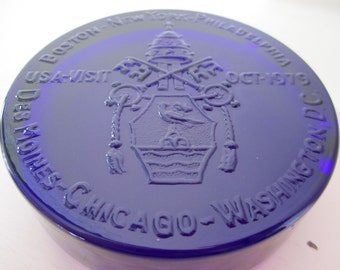 1979 US Papal Visit, Pope John Paul II, Commemorative Cobalt Blue Glass Paperweight ~ 1 inch thick ~ Names Cities Visited ~ Oct. 1979
