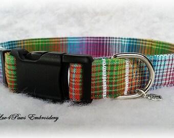 Rainbow Plaid Adjustable Dog Collar