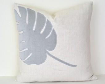 Leaf Pillow - Ivory Linen Pillow with Gray Velvet Tropical Leaf Appliqué