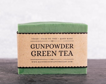 Gunpowder Green Tea Soap. Unscented Vegan Soap.