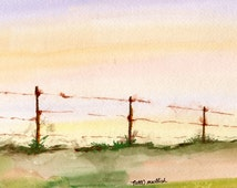"""Fence on the Ridge, original watercolor, 10x13"""", landscapes, scenery, paintings , sunset"""