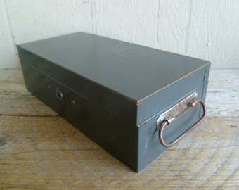 Vintage Rustic Metal Cash Storage Box With Key