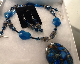 Sea Sediment Jasper Necklace, and Matching Earring Set