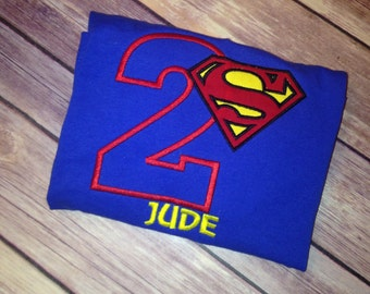 Superman Super Hero Birthday Shirt