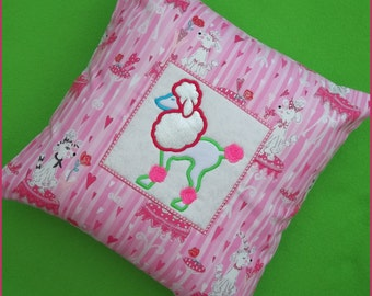 Machine embroidered applique poodle throw pillow cover,cushion cover,pink glittered poodle fabric,measures 15in x 15in,canvas back with zip.