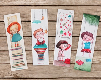 Illustrated Bookmarks set of 4 High quality print with children - Books, stars, cloud, moon, hearts, swing