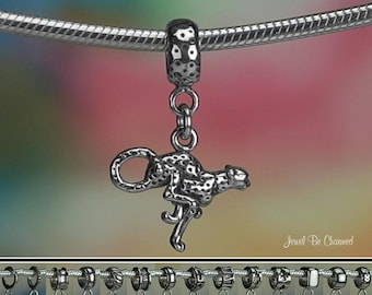 Sterling Silver Cheetah Charm or European Style Charm Bracelet .925