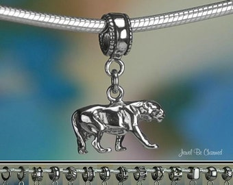 Panther Charm or European Style Charm Bracelet .925 Sterling Silver