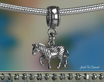 Sterling Silver Zebra Charm or European Style Charm Bracelet Solid 925