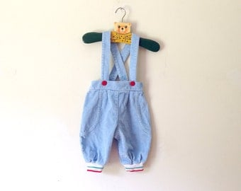 Vintage Sky Blue Corduroy Suspender Pants (Size 6/9 Months)