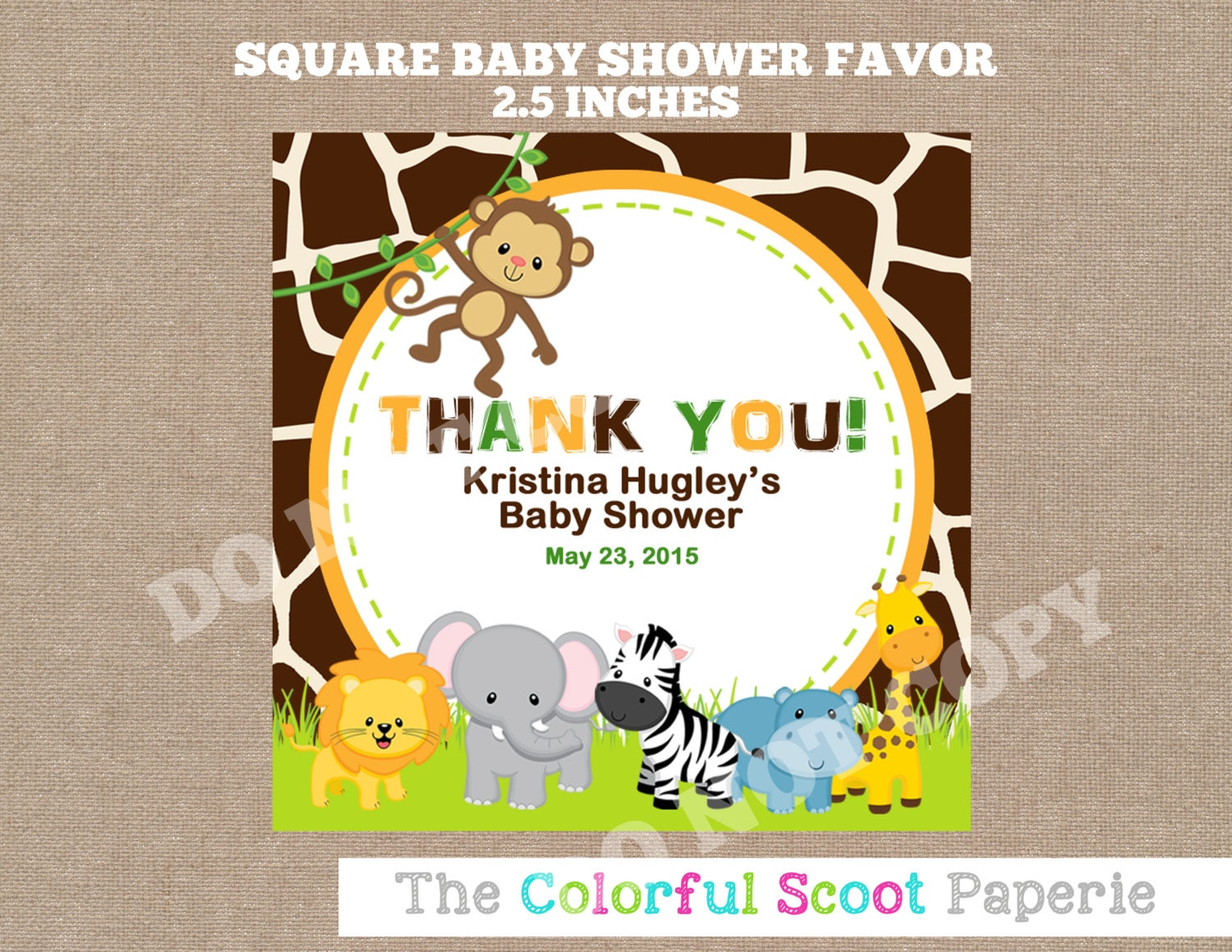 Jungle baby shower favor tags printable baby by thecolorfulscoot for Printable baby shower favor tags