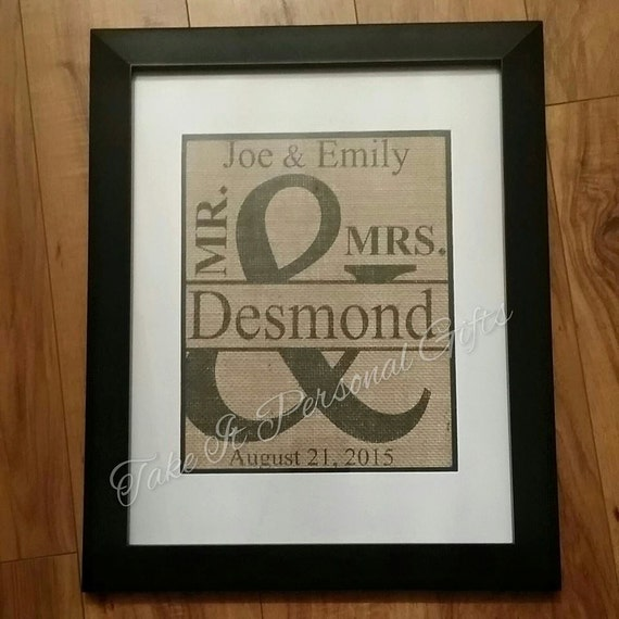 Mr And Mrs Burlap Wedding Frame Perfect By