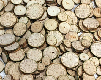 """100 Pine 1/2"""" - 1"""" Wood Slices. Rustic Tree Branch Slices for Craft. Natural Wood Slices"""