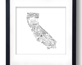 California - Hand drawn illustrations and type