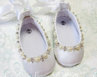 White Satin Baby Girl Shoes,Crib Shoes