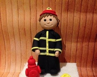 Fireman fondant cake topper