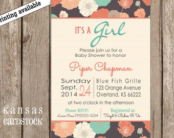 Baby Shower Invitation Girl Aqua Turquoise Pink Coral Salmon Floral