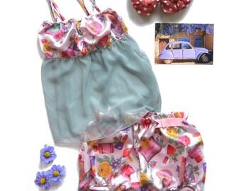 "Sleeveless tube top blouse, ""Ruby"", spaghetti straps, empire waist, pink satin and cosmetics printings, see-through pajama, ready to ship"