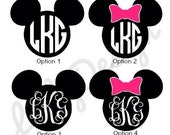 Mickey or Minnie Mouse Ear Decals with Monogram