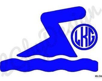 Swimming Decal with Monogram