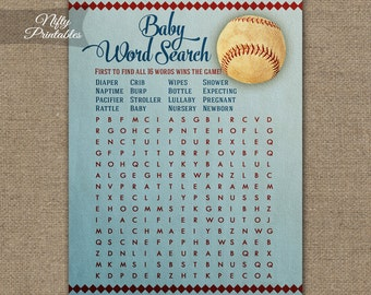 Word Search Baby Shower Game - Baseball Baby Shower - Baseball Word Search - Vintage Baseball Printable Shower Games - Baseball Decor BSB