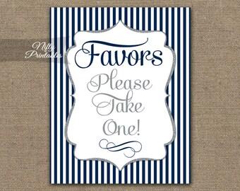 Favors Sign - Blue Favor Sign - Navy Blue Wedding Signs - Printable Navy Blue Baby Bridal Shower Favors Sign - Please Take A Favor Sign NSG